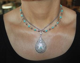 boho jewelry, boho necklace, tribal necklace, tribal jewelry, silver necklace