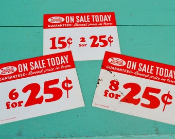 Vintage Rexall Drug Store Signs Large Price Tags Advertising Red White Paper Ephemera Set of 3 Three Crafts Collage Art Scrapbooking
