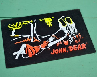 "Vintage Black Neon Sign Funny Humorous Joke ""John Dear"" Milk Cow Farm Farmer's Daughter Yellow Orange Cardstock Paper Poster"