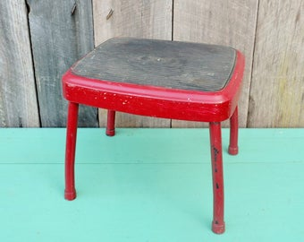 Vintage Red Cosco Stylaire Step Stool Foot Stool Kitchen Bathroom Metal Chippy Paint Burgundy Child's Stool Restoration