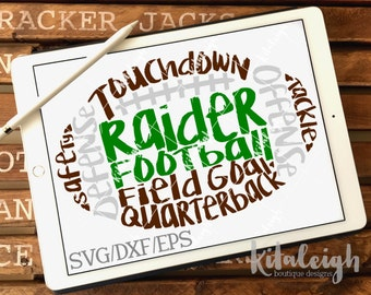 Messy Raider Football INSTANT DOWNLOAD in dxf, svg, eps for use with programs such as Silhouette Studio and Cricut Design Space