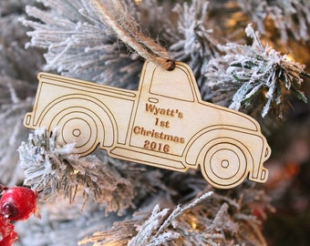 First Christmas Ornament Vintage Truck Ornament Baby Boy Ornament Truck Ornament Farmhouse Christmas 2018
