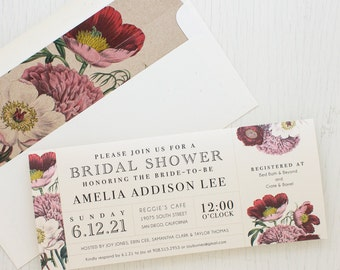 "Floral Garden Bridal Shower Invitations, Boho Shower Card with Matching Envelope Liner, Unique Bridal Shower, 3.00/each - ""Floral Boho"""