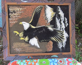painting on velvet eagle painting signed  wood frame
