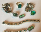 CYBER WEEK SALE Shades of  Green Destash Craft Lot of Colorful  Rhinestone Jewelry Parts and Pieces for Repurposing