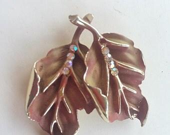 CYBER WEEK SALE Sparkling Vintage Signed Bsk Brown Enamel leaf Aurora Rhinestone Brooch