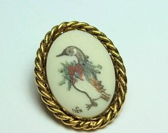 WINTER SALE Beautiful Vintage  Hand Painted Porcelain Poinsettia Goose Pendant Brooch Signed HFN