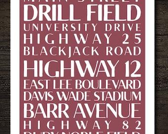 Mississippi State University Starkville Mississippi City Subway Printable Artwork / 8x10 Instant Art Print