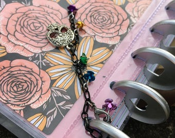 Sugar Skull Planner Charm Rose Beaded Journal Charm Day of the Dead Zipper Pull