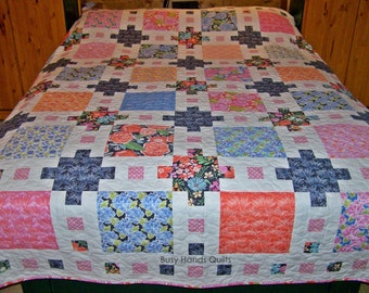 Ready to Ship, Queen Quilt, Quilts For Sale, Handmade Quilt, Patchwork Quilt, Castle Dreams, Bed Quilt, Handmade, Homemade, BusyHandsQuilts
