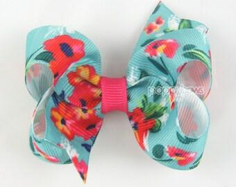 """Girls hair bow, 3 inch hair bows, aqua blue hair bow, floral, cute hair bow, baby hair bow, 3"""" bows, boutique bows, little girls clip medium"""