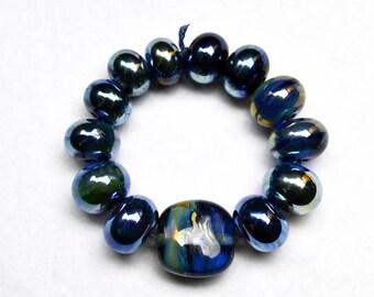 Triton Silver Glass Lampwork Beads Set of 13