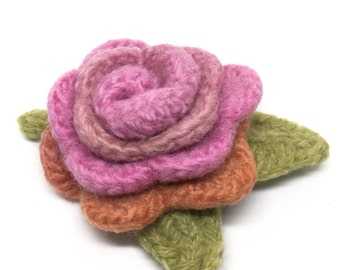 Felted Wool Rose Flower Brooch pin in shades of pink and peach with light green leaves