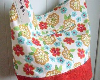 "Summer Floral Bucket Bag / Cross-body Bag / Retro Print / Cork ""Leather"" / Swoon Bonnie"