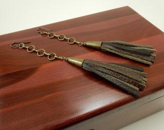 Leather Dangle Earrings - Leather Tassel with Antique Brass Chain Earrings