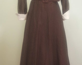 SALE Vintage 1960s-70s Maxi Dress. Brown Dotted Swiss. Sweeping Skirt. Medium