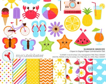 Summer Breeze Clipart & Digital Paper Set - summer clip art set, beach ball, sun - personal use, small commercial use, instant download