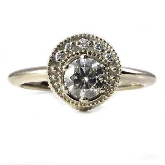 Grey Diamond Or Gray Moissanite Crescent Moon Engagement Ring - Pick your Stone - 14k Palladium White Gold