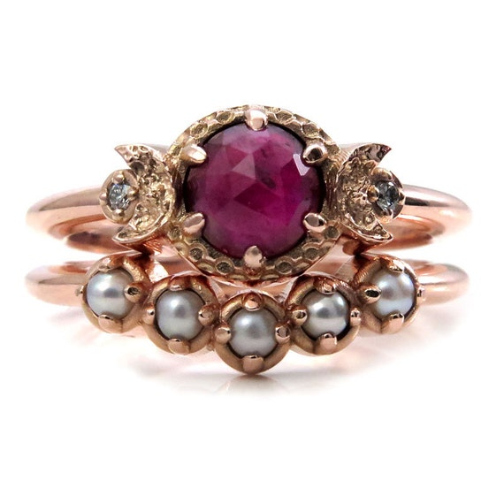 Bohemian Engagement Ring Set - Ruby, Diamonds and Tiny Pearls - Triple Moon Goddess