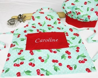 Personalized Retro Cherries on Aqua Child Apron and Adjustable Chef Hat with Red Band - made to order