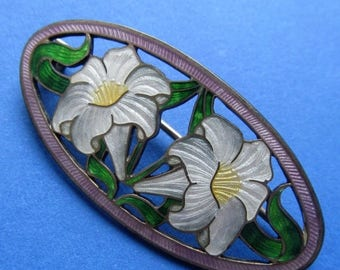 On Sale Antique Sterling Silver Enamel Lilies  Brooch Circa 1910 Art Nouveau Pin Jewelry