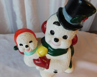 Vintage Ceramic Frosty The Snowman and Baby Snowman Figurine Box Y