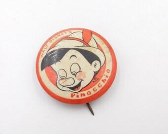 Vintage Walt Disney's Pinocchio Pin Pinback Button Dr37