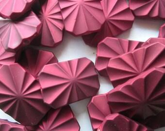 35mm Wavy Burgundy Rectangle Acrylic Rubberized Beads 10 Beads