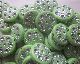 Green and Silver Flat Coin Acrylic Beads 18mm 10 Beads