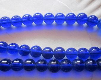 Blue Round Glass Beads 12mm 14 Beads