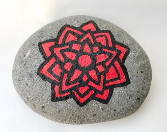 Geometric Flower Painted Rock
