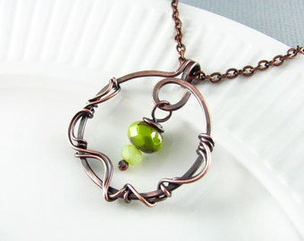 Wire Wrapped Jewelry Copper Jewelry Wire Wrapped Pendant Copper Necklace Green Necklace Wire Wrap Necklace Fairy Necklace