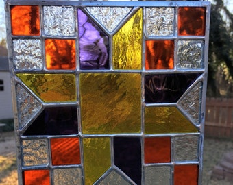Contemporary Stained Glass Panel Quilt Block Star (PLG084)