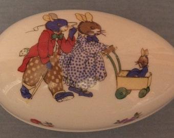 Vintage Lefton Egg Trinket Box Bunny Family Easter Egg