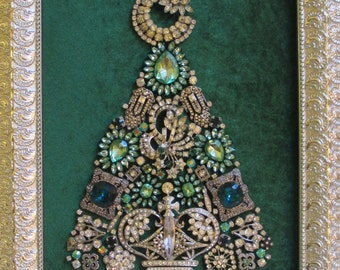 Jeweled Framed Jewelry Christmas Tree Emerald Silver Vintage Deco Fabulous