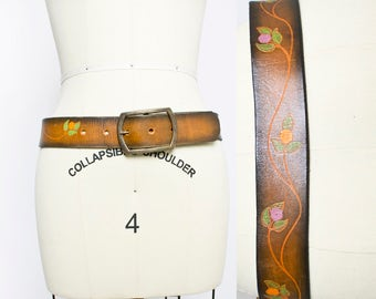 Vintage 1970s Belt - Tooled Brown Leather Floral Painted Boho Belt 60s - Small / XS
