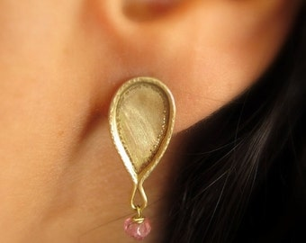 14k solid gold earrings, 14k gold drop earrings, Pink tourmaline post earrings