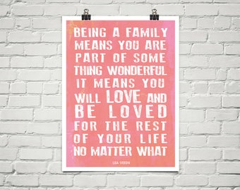Being A Family 18x24 Art Poster Giclee Blush Pink Coral Lisa Weedn