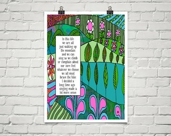 In This Life 18x24 Art Poster Giclee Typography Nature Floral Lisa Weedn