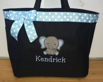 Personalized Baby Boy Elephant Diaper Bag Tote