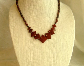 Red Jasper Squares Necklace