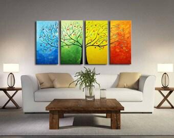 Large Abstract Tree, Modern Large 4 Panels Painting, Textured Impasto Flower Tree, Oil Painting, huge tree, thick texture, seasons tree