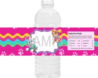 Paw-ty Water Bottle Labels,Skye and Everest water bottle labels,Paw-ty Patrol self adhesive water bottle labels,Skye party. Set of 25 or 21