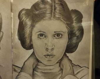 Original drawing of Carrie Fisher as Princess Leia from Star Wars