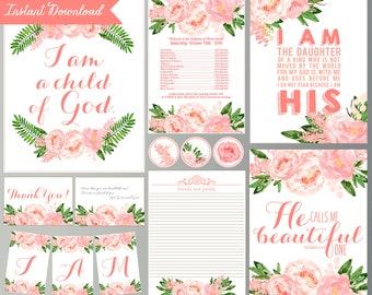 Printable Baptism Quotes Decorations - Pink Floral - Baptism Decorations - Watercolor Flowers (Instant Download)