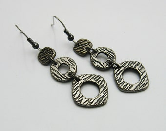 Long Gunmetal Colored Earrings, Rustic Metal Earrings, Long Dangle Earrings, Geometric Earrings, Dark Silver Earrings, Gray and Black