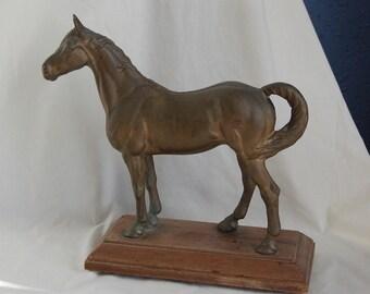 Antique Vintage Cast Metal Horse Equestrian Doorstop Statue