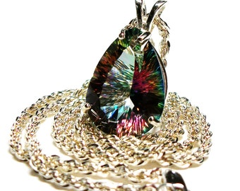 "Topaz, mystic topaz pendant,statement pendant, birthstone pendant,  pink green blue,  ""Over the Rainbow"""