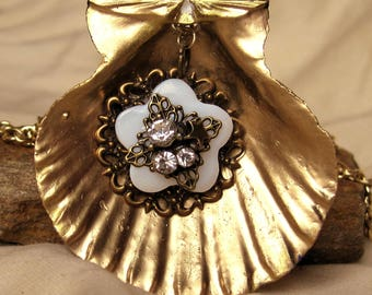 Hand Made Seashell Charm Necklace Hand Painted Gold with a Antique Flower Charm