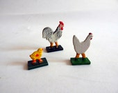 Antique Vintage Erzgebirge Wooden Toy Hand Painted Rooster, Hen & Chick German Wood Toys Christmas Putz